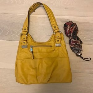 Yellow Leather Shoulder Bag Purse - like new!
